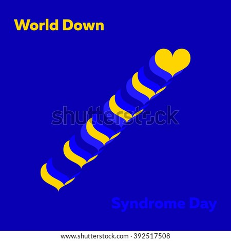 Vector minimal concept with multiply yellow and blue hearts for world down syndrome day - stock vector