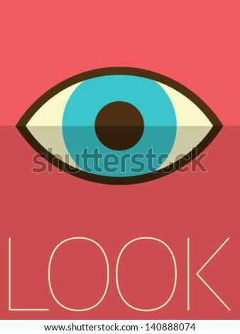 Vector Minimal Design - Looking Eye - stock vector