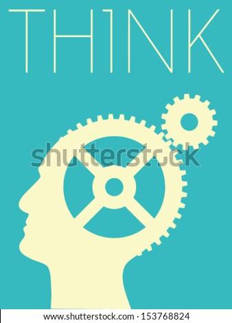 Vector Minimal Design - Think - stock vector