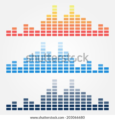 Vector minimal sound waves icons  - stock vector