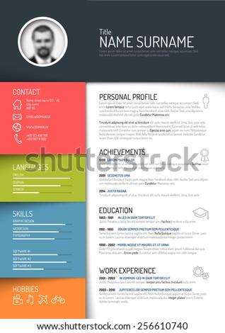 Vector minimalist cv / resume template - dark color version - stock vector
