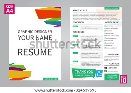 Vector Minimalist Cv / Resume Template For Graphic Designer With Title /  Front Page. Cv