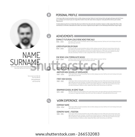 Vector minimalist cv resume template minimalistic stock vector 2018 vector minimalist cv resume template minimalistic black and white version yelopaper Choice Image