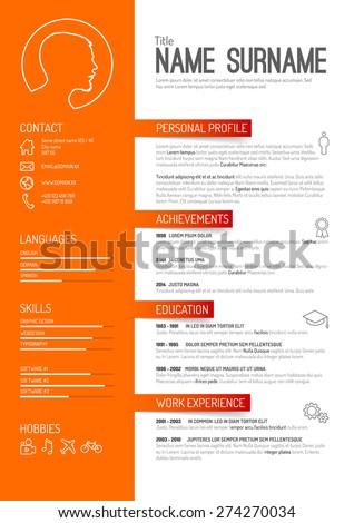 Vector minimalist cv / resume template - orange version - stock vector