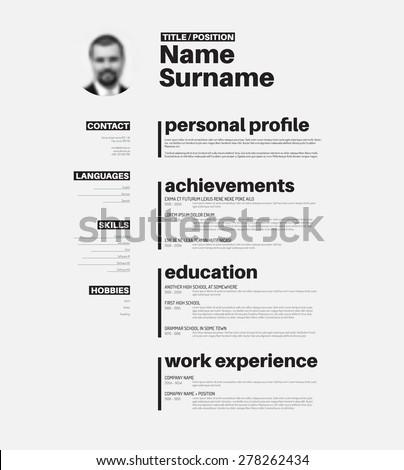 Vector minimalist cv / resume template with nice typogrgaphy design - stock vector