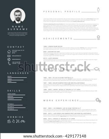 Vector minimalist cv / resume template with nice typogrgaphy design.  - stock vector
