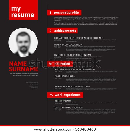 vector minimalist cv resume template with nice typogrgaphy design red and black version - Cv Design Templates Vector