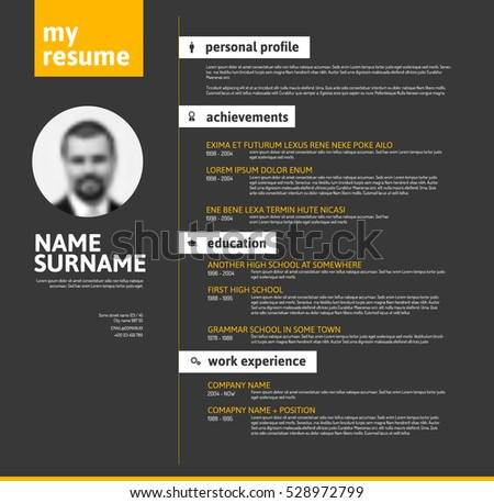 Vector minimalist cv resume template nice stock vector 528972799 vector minimalist cv resume template with nice typogrgaphy design yellow and black version yelopaper Image collections