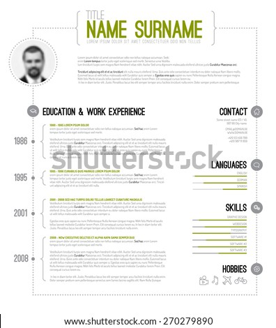 Vector minimalist cv / resume template with timeline - green version - stock vector