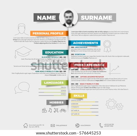 Vector Minimalist Cv Resume Template Colorful Stock Vector 576645253 ...