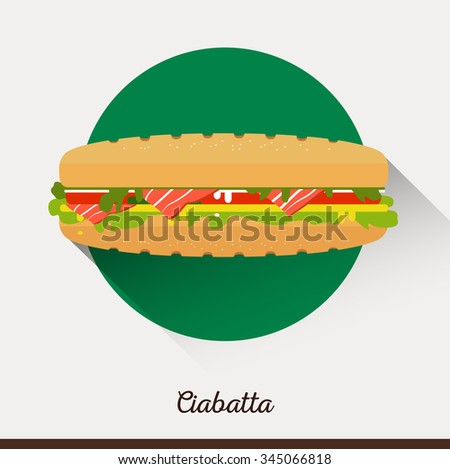 Vector minimalist food icon. Sandwich with tomatoes, lettuce, bacon, cheese, cucumbers. Panini in a flat style. Office Lunch snack - stock vector