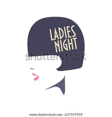 Vector minimalist illustration ladies night poster stock photo vector minimalist illustration ladies night poster with girl silhouette great as sign invitation stopboris Images