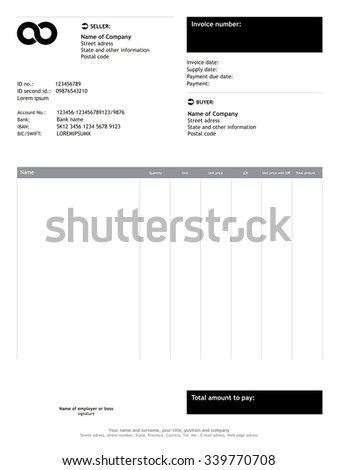 Vector minimalist invoice / business template - stock vector