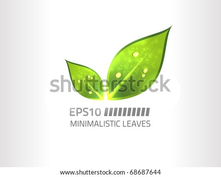 Vector minimalistic leaf design against white background - stock vector