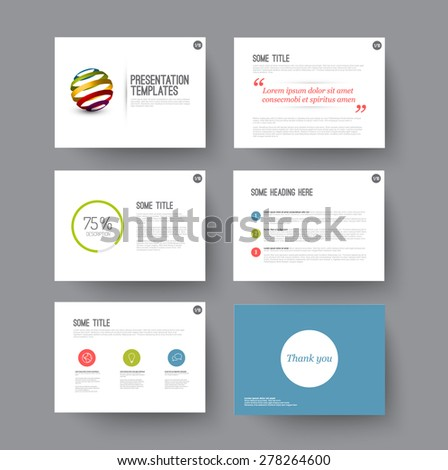 Vector minimalistic Templates for presentation slides with some sample content - stock vector