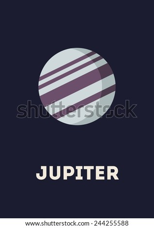 Vector minimalistic vertical banner with Jupiter in interstellar space. Planet of solar system - stock vector