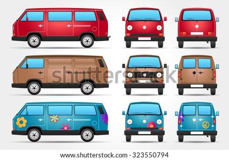 Vector Minivan - Side - Front - Rear view - stock vector
