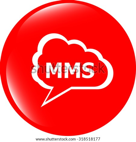 vector mms glossy web icon isolated on white background