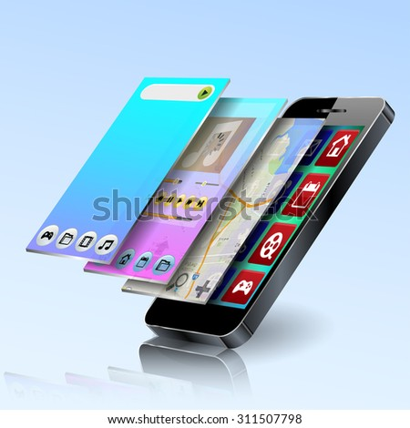 Vector mobile app development - stock vector
