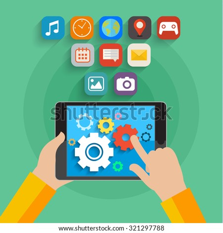 Vector mobile app development concept. Hands holding tablet. Flat design - stock vector