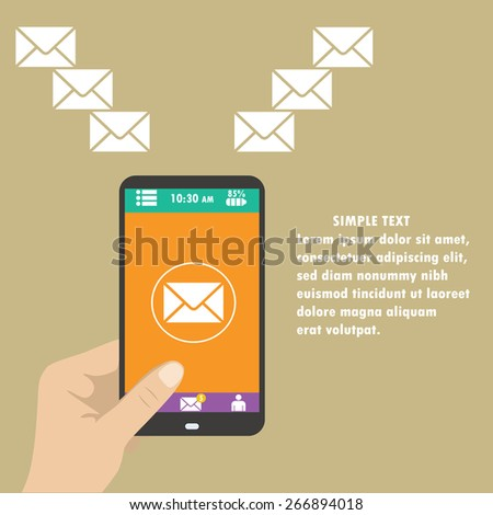 Vector mobile app - email marketing and promotion - stock vector