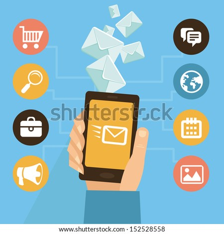 Vector mobile app - email marketing and promotion - infographics in flat style - stock vector