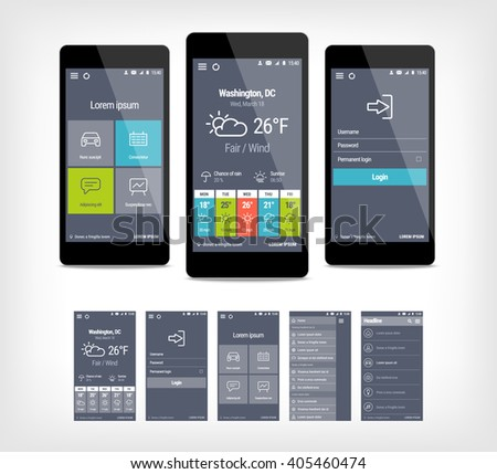 Vector mobile app ui set of modern design.  - stock vector