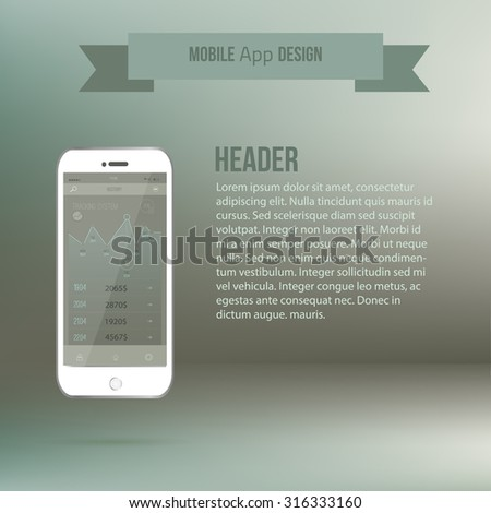 Vector Mobile application interface UI concept with phone and flat hand. EPS10 - stock vector