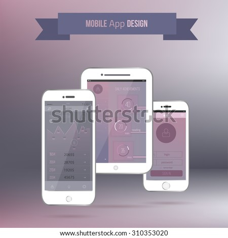 Vector Mobile application interface UI concept with phone. EPS10 - stock vector
