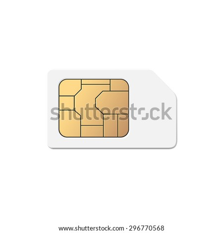 Vector Mobile Cellular Phone Sim Card Chip Isolated on white Background - stock vector