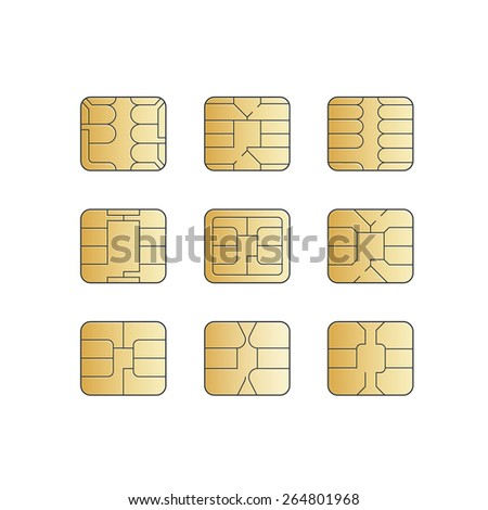 Vector Mobile Cellular Phone Sim Card Chip Set Isolated on White Background - stock vector