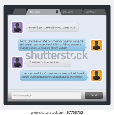 Vector mobile chat: message boxes for your text - stock vector