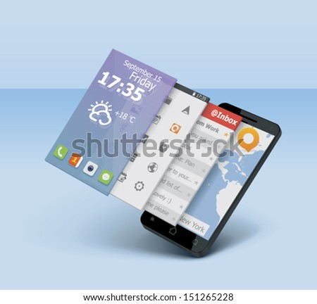 Vector mobile or smartphone icon showing user interface on 3d tiles - stock vector