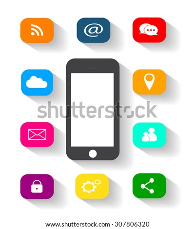 Vector mobile phone icon with social media icons - stock vector