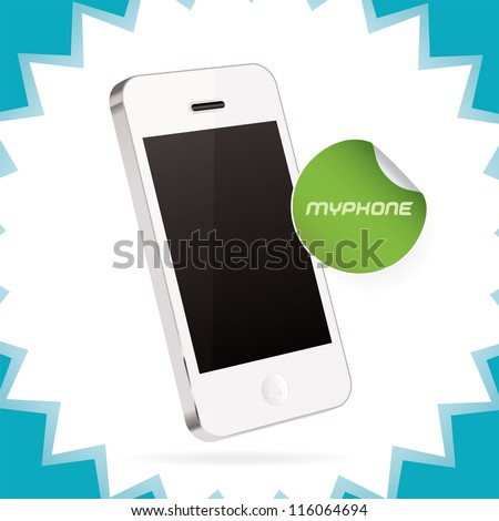 Vector Mobile Phone, Iphon, Ipade, Ipode style gadget Illustration, Icons, Sign, Badge With Sticker - stock vector