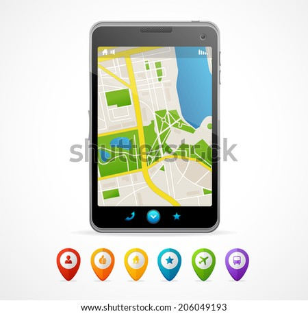 Vector mobile phone navigation set. For infographics