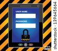 Vector : Mobile Phone Security Concept Present By Black Tablet PC With Login Form and The Key Lock Icon on Screen in Caution Zone Dark and Yellow Background - stock photo