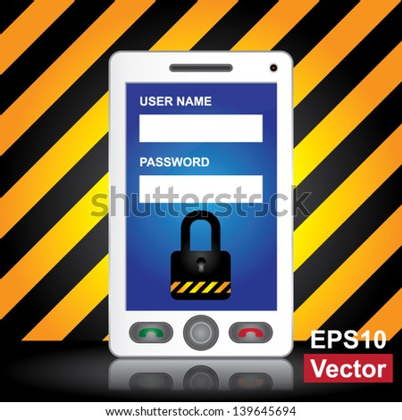 Vector : Mobile Phone Security Concept Present By White Smart Phone With Login Form and The Key Lock Icon on Screen in Caution Zone Dark and Yellow Background - stock vector