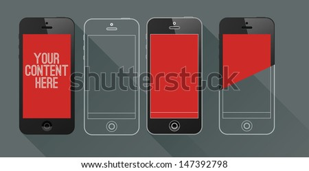 Vector mobile phone set - for presentation or infographics - stock vector