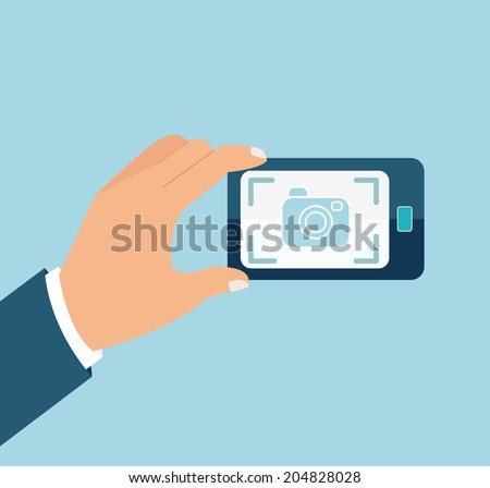 Vector mobile phone with touchscreen, mobile photography. - stock vector
