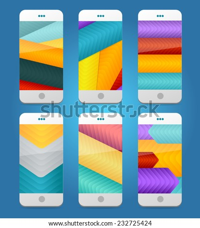 Vector Mobile Phones Arrows Backgrounds. Background collection - stock vector