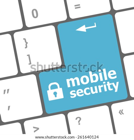 vector mobile security key on the keyboard of laptop computer - stock vector
