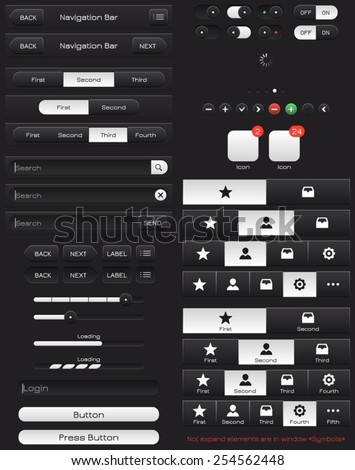 """Vector mobile UI kit. Elements for the application. Button, Bar. All of the text that is present on artborte is dismantled. Text is not dismantled in the tab """"Symbols"""" for the convenience of buyers. - stock vector"""