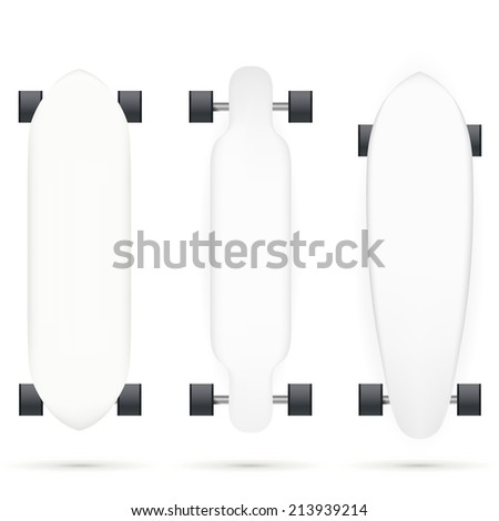 Vector mock-up for longboards. Mock up for white longboards with black wheels. Three isolated vector illustrations on white. - stock vector