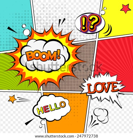 Vector mock-up of a typical comic book page with various speech bubbles, symbols and colored halftone backgrounds. Comic speech bubble background pop-art style - stock vector