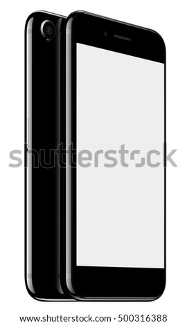 vector mock up smart phone front and back perspective view on white background, new modern phone Vector EPS10