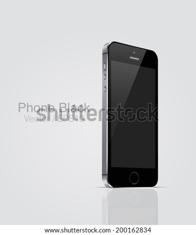 Vector MockUp black phone - stock vector
