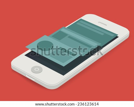 Vector MockUp white phone with 3d interface   - stock vector