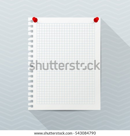 Vector Mockup Sheet Notebook Paper Red Stock Vector 577903129