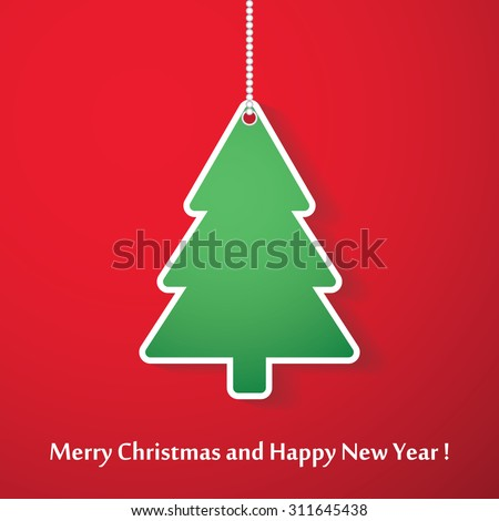 Vector modern abstract Christmas tree background. Linear design.  - stock vector